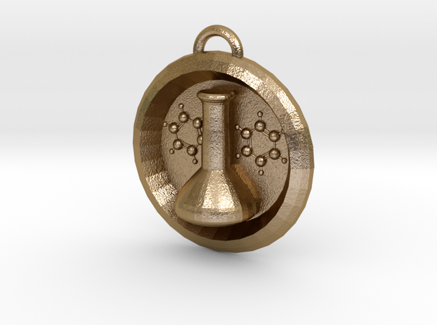 Volumetric Flask Medalion in Polished Gold Steel