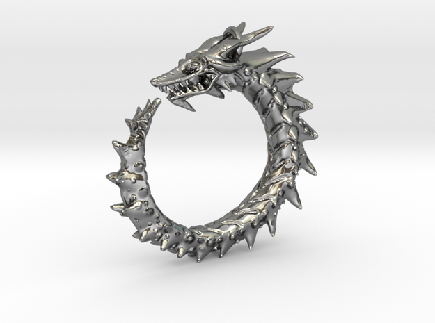 Dragon Amulet Complex in Polished Silver