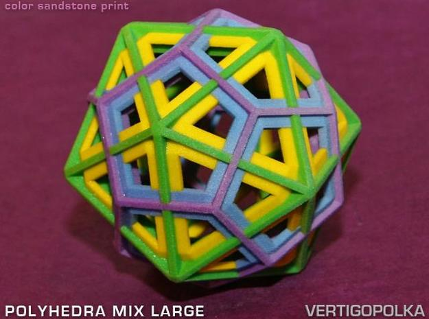 Polyhedra Mix Large 3d printed color sandstone print