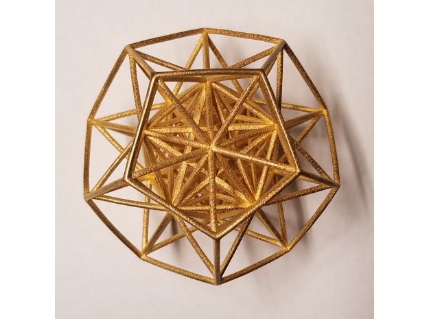 "Super Dodecahedron 2.5"" in Polished Gold Steel"