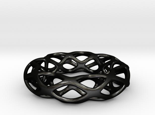 Voronoi Torus pendant  in Matte Black Steel