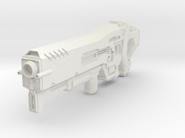 Starcraft 2 Terran Gun in White Natural Versatile Plastic: 28mm