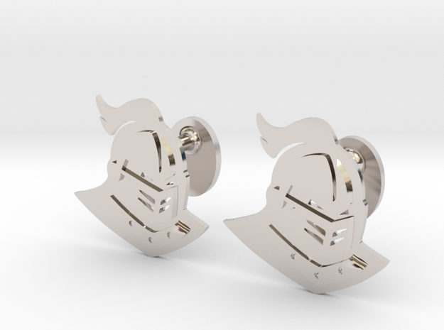 UCF Knight Cufflinks, Customizable in Rhodium Plated Brass