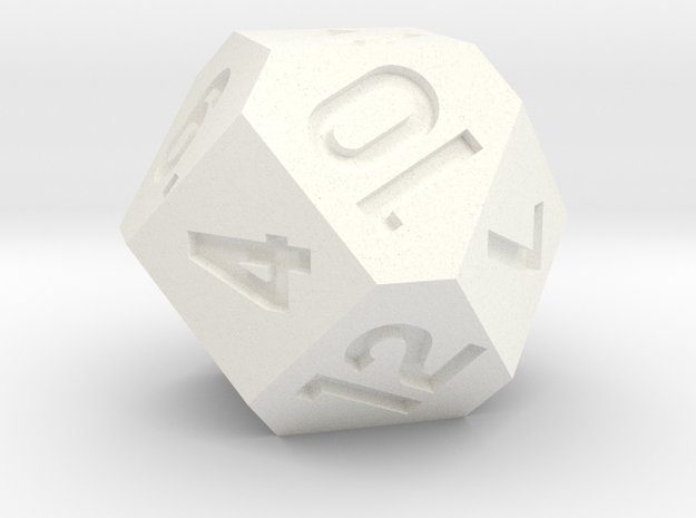 d14 Cuboctahedron Variant - Jumbo in White Processed Versatile Plastic