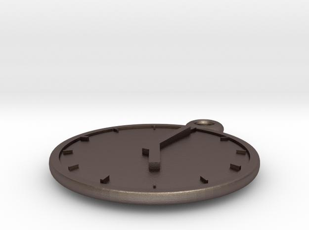 Clock Keychain - Five O' Clock in Polished Bronzed Silver Steel
