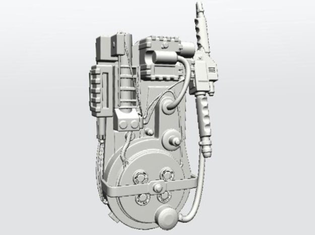Ghostbusters Proton Pack in White Natural Versatile Plastic: 28mm