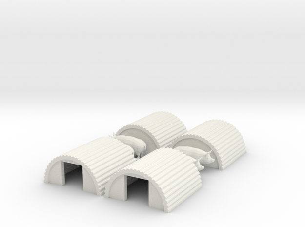 N Gauge Pig Sty 4 Pack in White Strong & Flexible