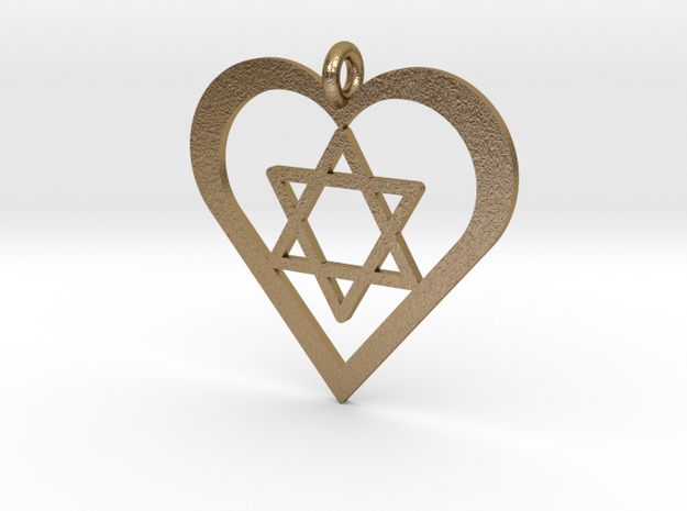 Star in Heart Pendant in Polished Gold Steel