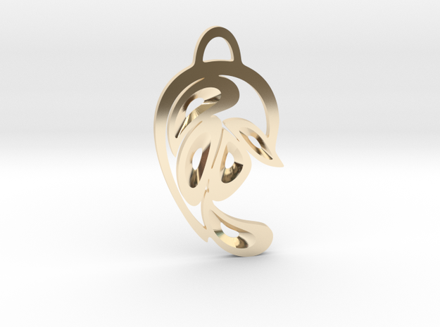 """""""Peacock Tail"""" Pendant in 14k Gold Plated Brass"""