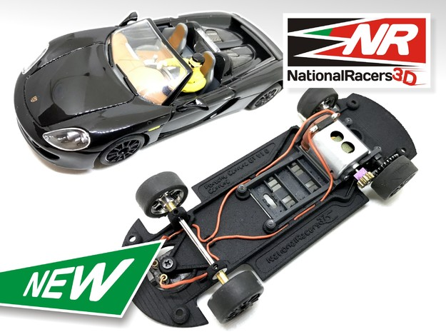 3D Chassis - Carrera Porsche Carrera GT (Combo)  in Black Natural Versatile Plastic