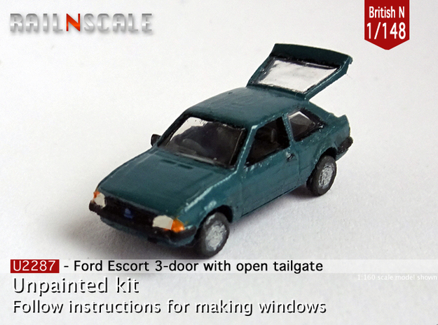 Ford Escort with open tailgate (British N 1:148) in Frosted Ultra Detail