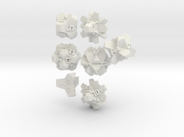 Brutalist Dice Set — Version 2 (7 pc.) in White Natural Versatile Plastic