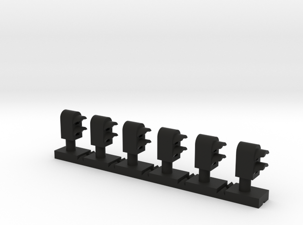Dwarf 2 Light Std 160:1 N Scale (Qty 6) in Black Natural Versatile Plastic