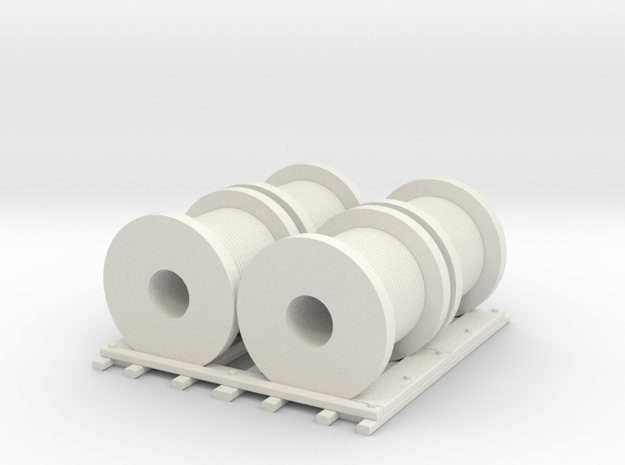 Wire Spool  Gondola Load HO 87:1 Scale in White Natural Versatile Plastic