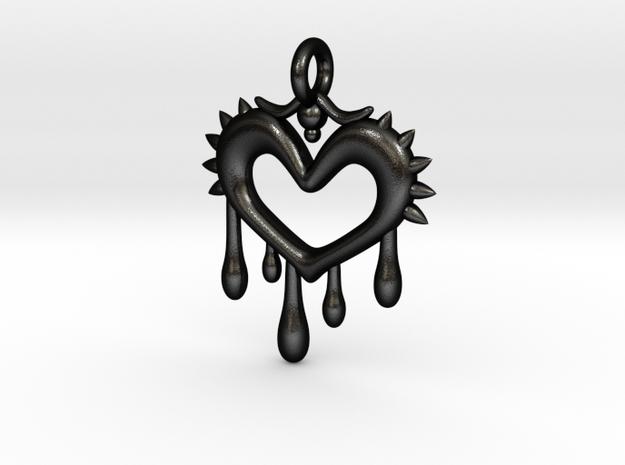 Bleeding Heart Pendant in Matte Black Steel