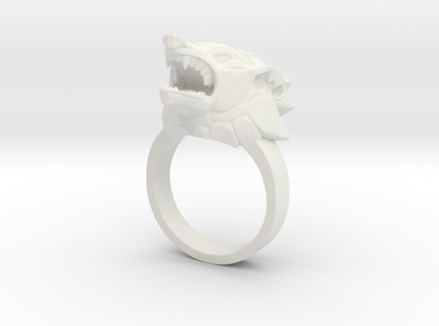 Wolf Ring in White Natural Versatile Plastic