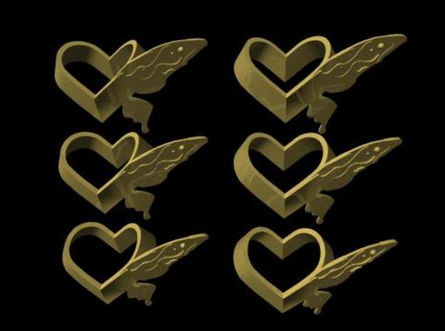 Sheryl heart trinket version 1 in Matte Gold Steel