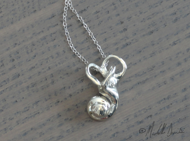 Left Inner Ear Cochlea Pendant in Polished Silver