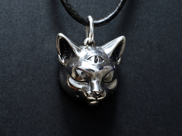 Mystical cat pendant in Polished Silver