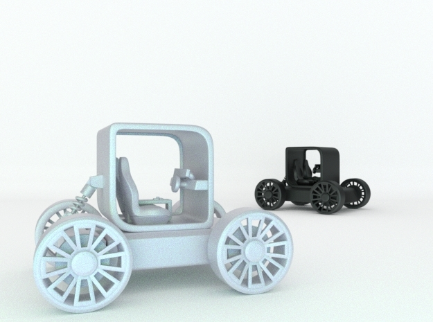Small concept styled car with suspension v1  in White Natural Versatile Plastic
