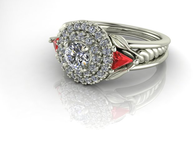 Double halo with a twist NO STONES SUPPLIED in Fine Detail Polished Silver