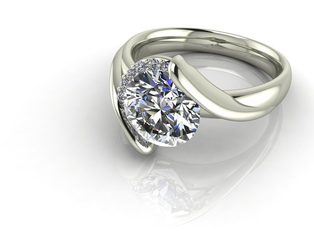 Tension setting solitaire NO STONES SUPPLIED in Fine Detail Polished Silver