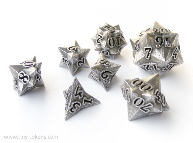 Faceted - polyhedral 7 dice set in Polished Bronzed Silver Steel