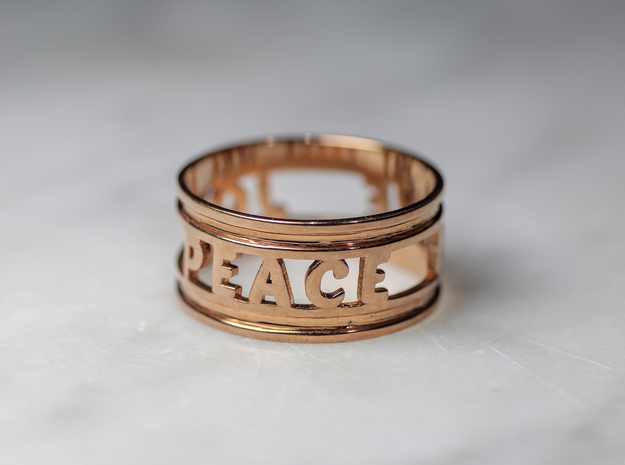 Peace Love Joy, 14k Rose Gold Plated in 14k Rose Gold Plated Brass: 10 / 61.5