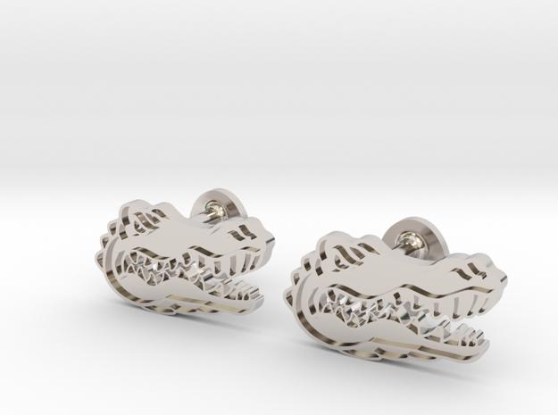 Florida Gators Cufflinks, Customizable in Rhodium Plated Brass