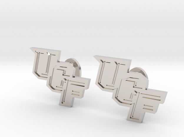 UCF Cufflinks, Customizable in Rhodium Plated Brass