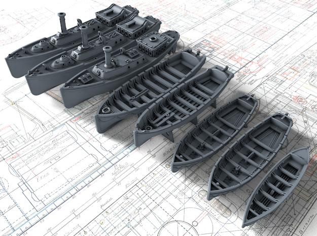 1/350 Scale HMS Invincible (WW1) Boat Set 1 in Smooth Fine Detail Plastic