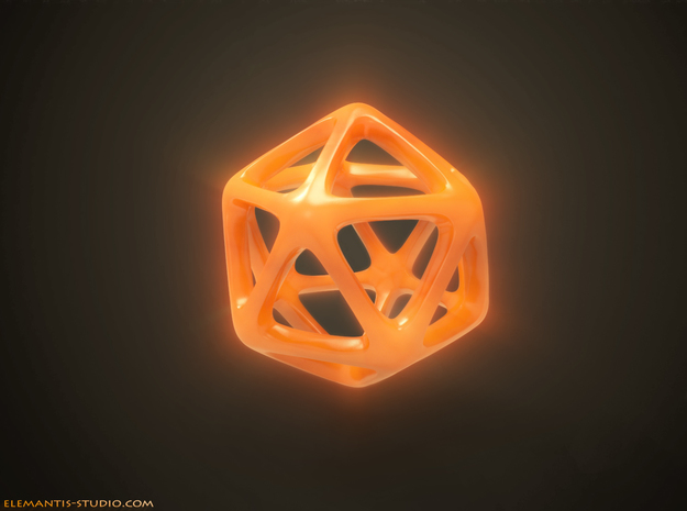Icosahedron Platonic Solid  in Orange Processed Versatile Plastic