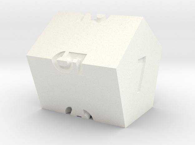 d7 Pentagonal Prism in White Processed Versatile Plastic