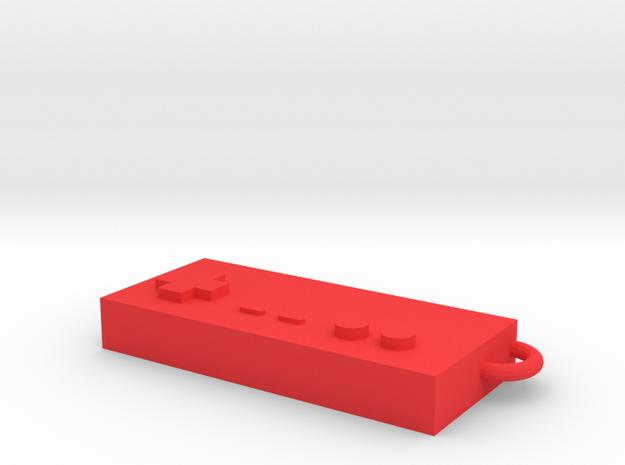Classic Nintendo controller keychain in Red Processed Versatile Plastic