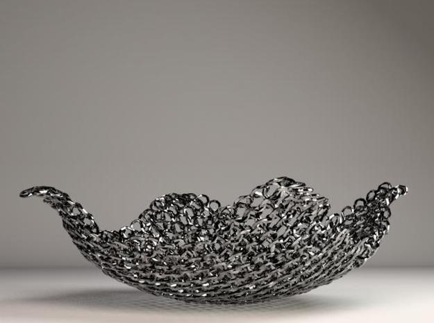Chain Mesh Bowl 6in. 3d printed Stainless Steel