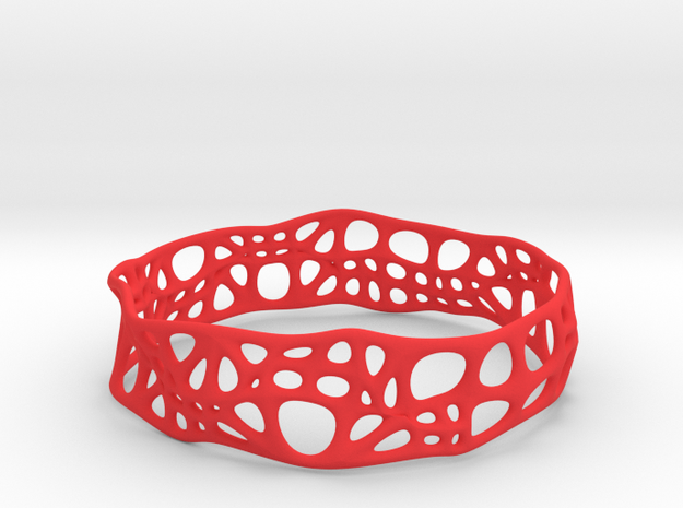 Voronoi Dodecagonal Bracelet 20mm (002) in Red Processed Versatile Plastic