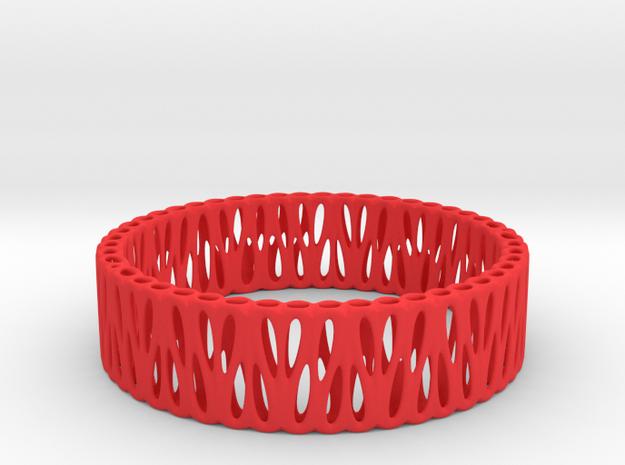 Voronoi Bracelet (003) in Red Processed Versatile Plastic
