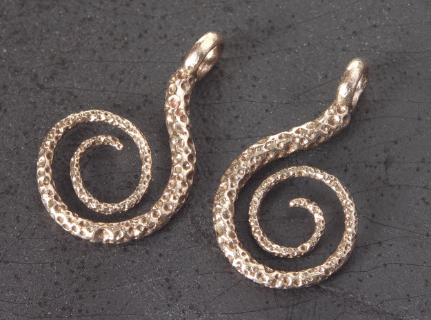 Spiral Earrings Textured 3d printed Raw Bronze