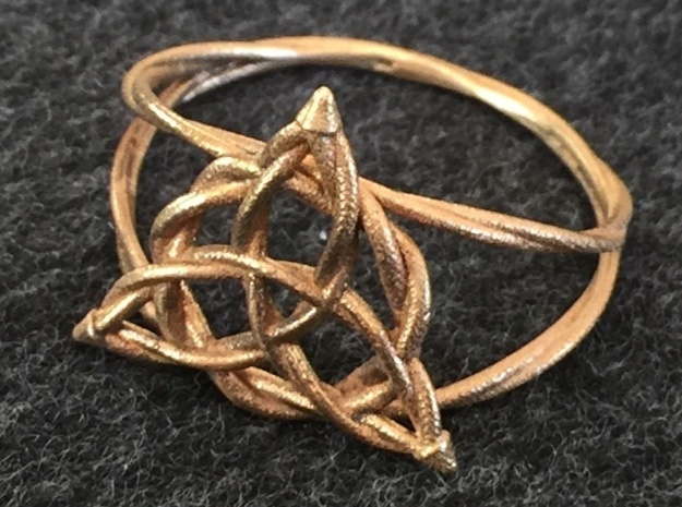 Woven triquetra ring in Natural Bronze: 6 / 51.5