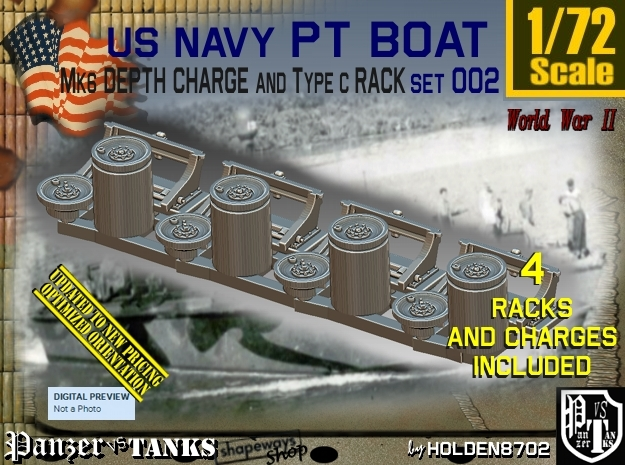 1/72 PT Boat Depth Charge w Rack Set002