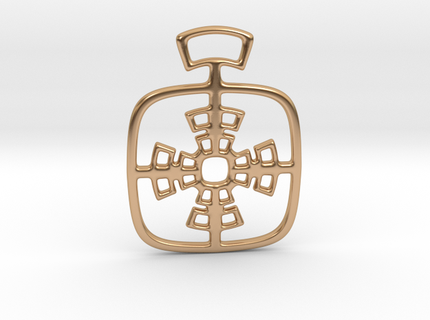 Geometric cross. Pendant  in Polished Bronze