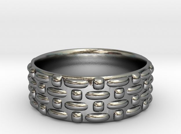 Abstract Weave Pattern Ring in Polished Silver: 6 / 51.5