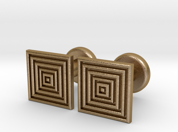 Geometric, Minimalistic Men's Square Cufflinks in Polished Gold Steel
