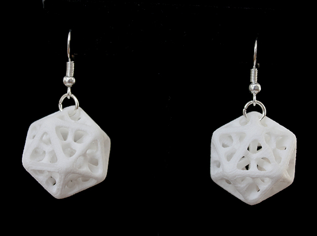 Icosahedron Earrings in White Processed Versatile Plastic
