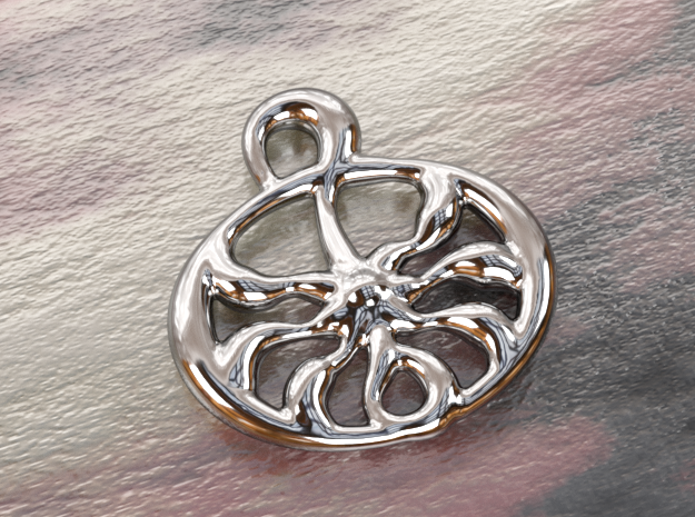 Ancient sun  in Polished Silver
