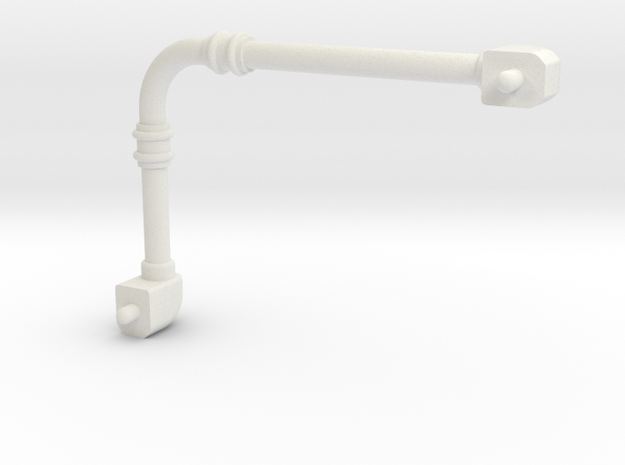 Pipe 3mm dia, 30mm x 45mm in size in White Natural Versatile Plastic