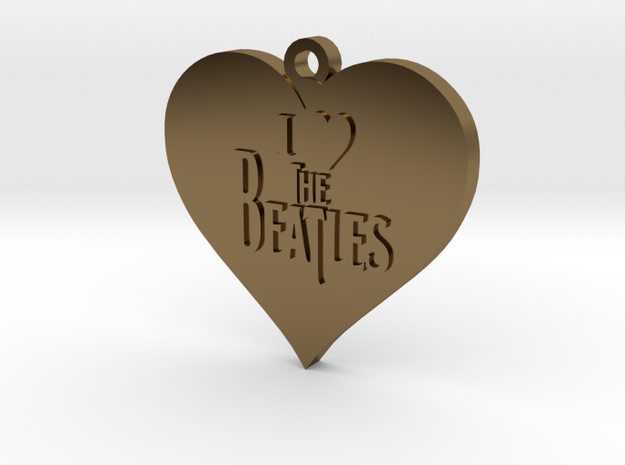 I Love The Beatles pendant in Polished Bronze
