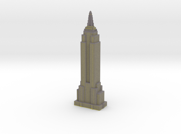 Empire State Building - Gray with Yellow Windows in Full Color Sandstone