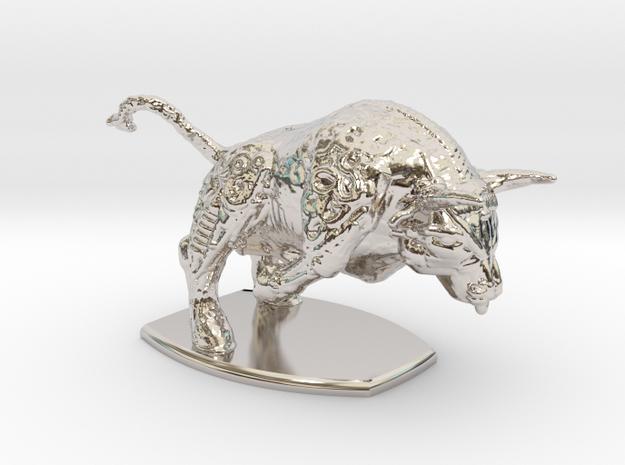Iron Bull in Rhodium Plated Brass: Small