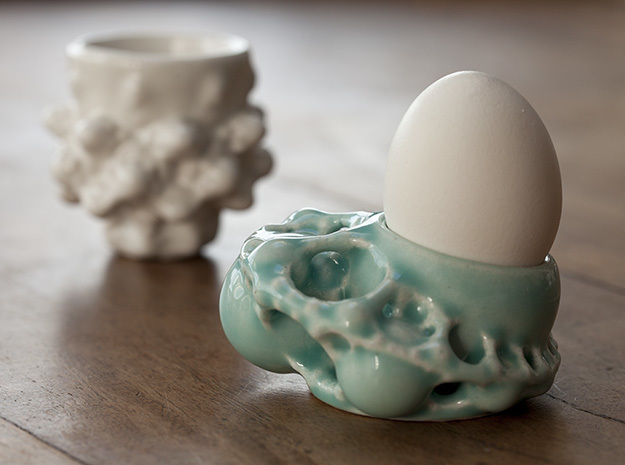 Kleinian Egg Cup / 酒 Fractal Potion Chalice in Gloss Celadon Green Porcelain